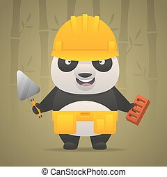 Panda character builder in helmet