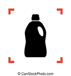 Plastic bottle for cleaning. Black icon in focus corners on...