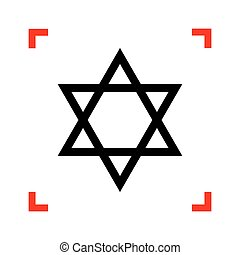 Shield Magen David Star. Symbol of Israel. Black icon in...