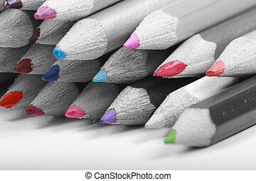 colour popped pencils - pencils converted to blacka nd white...