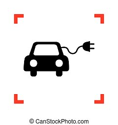 Eco electric car sign. Black icon in focus corners on white...