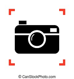 Digital photo camera sign. Black icon in focus corners on...