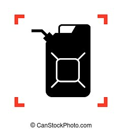 Jerrycan oil sign. Jerry can oil sign. Black icon in focus...