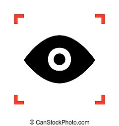 Eye sign illustration. Black icon in focus corners on white back