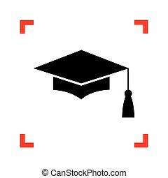 Mortar Board or Graduation Cap, Education symbol. Black icon...