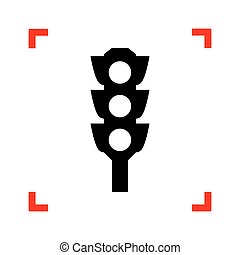 Traffic light sign. Black icon in focus corners on white backgro