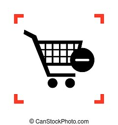 Vector Shopping Cart with Remove sign. Black icon in focus...