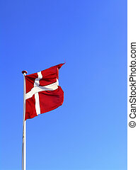 The danish flag, Dannebrog, waving in the wind