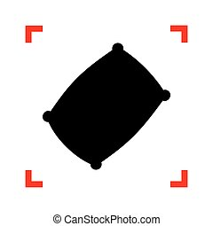 Pillow sign illustration. Black icon in focus corners on...