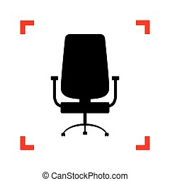 Office chair sign. Black icon in focus corners on white backgrou