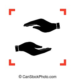 Hand sign illustration. Black icon in focus corners on white bac