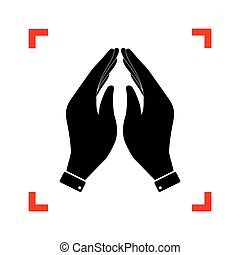 Hand icon illustration. Prayer symbol. Black icon in focus...