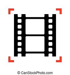 Reel of film sign. Black icon in focus corners on white backgrou