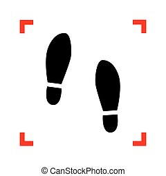 Imprint soles shoes sign. Black icon in focus corners on...