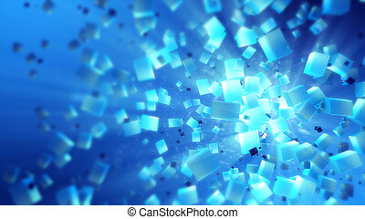 Colorful abstract cubes in space texture isolated 3D illustration