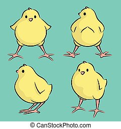Baby Chicken - Vector Illustration Of A Baby Bird From Four...