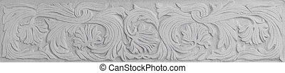 floral sgraffito - detail of an architecture detail...