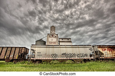 Storm Clouds over Grain Elevator Saskatchewan