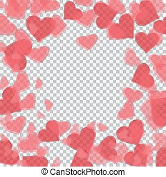 Red translucent hearts arranged in a circle. Checker background for drawings in honor of Valentine's Day. illustration