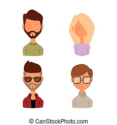 Set of people portrait face icons web avatars flat style vector.