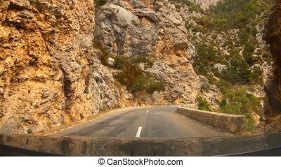 France, Verdon Gorge. When driving a car view through the...