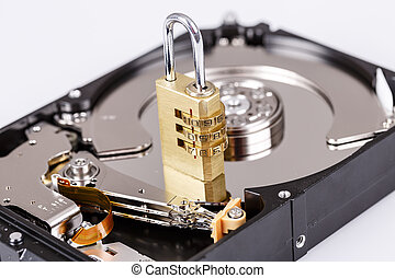 lock on hdd or harddrive, part of computer, cyber security...