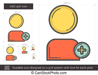 Add user line icon. - Add user vector line icon isolated on...