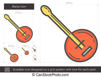 Banjo line icon. - Banjo vector line icon isolated on white...