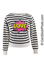 Striped sweater with 'Love' sign, isolated on white