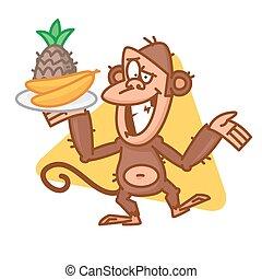 Monkey holding tray with fruit
