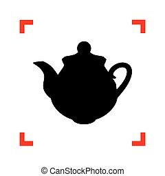 Tea maker Kitchen sign. Black icon in focus corners on white bac