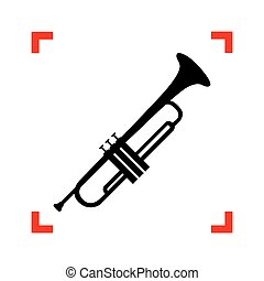 Musical instrument Trumpet sign. Black icon in focus corners...