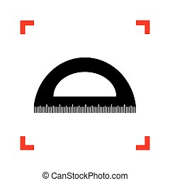 Ruler sign illustration. Black icon in focus corners on white ba