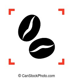 Coffee beans sign. Black icon in focus corners on white...