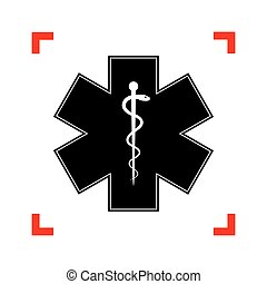 Medical symbol of the Emergency or Star of Life. Black icon in f