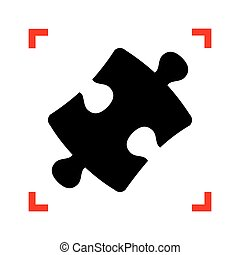 Puzzle piece sign. Black icon in focus corners on white backgrou
