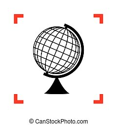 Earth Globe sign. Black icon in focus corners on white...
