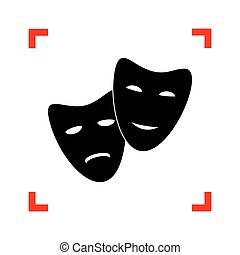 Theater icon with happy and sad masks. Black icon in focus...
