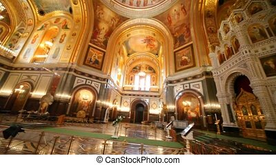 Panning of interior of orthodox the Cathedral of the...