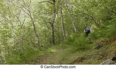 Backpacker in Norway. Real time footage