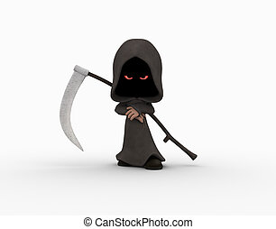 cartoon grim reaper character - 3d illustration of cute...