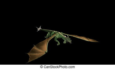 Dragon Flying Green01 - Looping Green Dragon Animation 1....