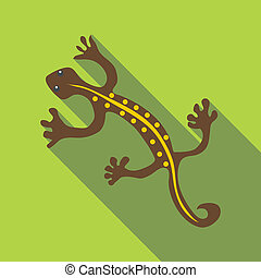 Brown lizard icon, flat style - Brown lizard icon. Flat...