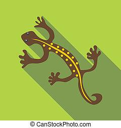 Brown lizard icon, flat style - Brown lizard icon. Flat...