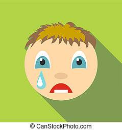 Cry icon, flat style - Cry icon. Flat illustration of cry...