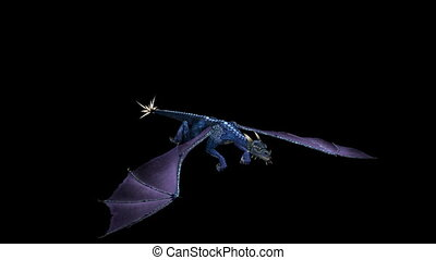 Dragon Flying Blue 02 - Looping Blue Dragon Animation 2....
