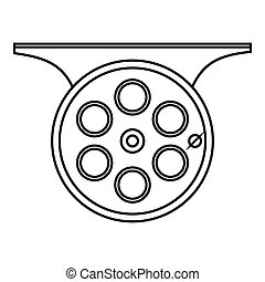 Spinning reel icon, outline style - Spinning reel icon....