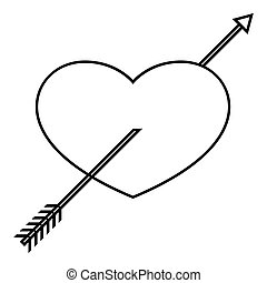 Heart icon, outline style - Heart icon. Outline illustration...