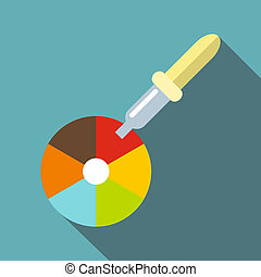 Color picker pipette icon, flat style - Color picker pipette...