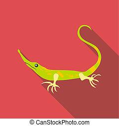 Little green lizard icon, flat style - Little green lizard...
